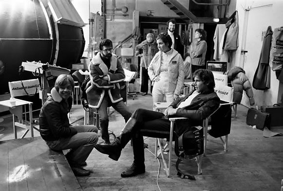 Leia, Han Solo, Luke e George Lucas