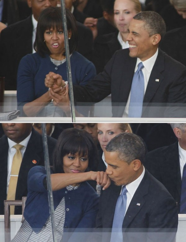 Sequência mostra o presidente americano brincando com sua mulher, Michelle, durante o desfile. (Foto: Joe Skipper/Reuters)